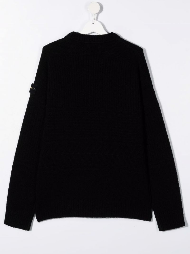 STONE ISLAND JUNIOR: logo-detailed technical wool pullover Color Black_2