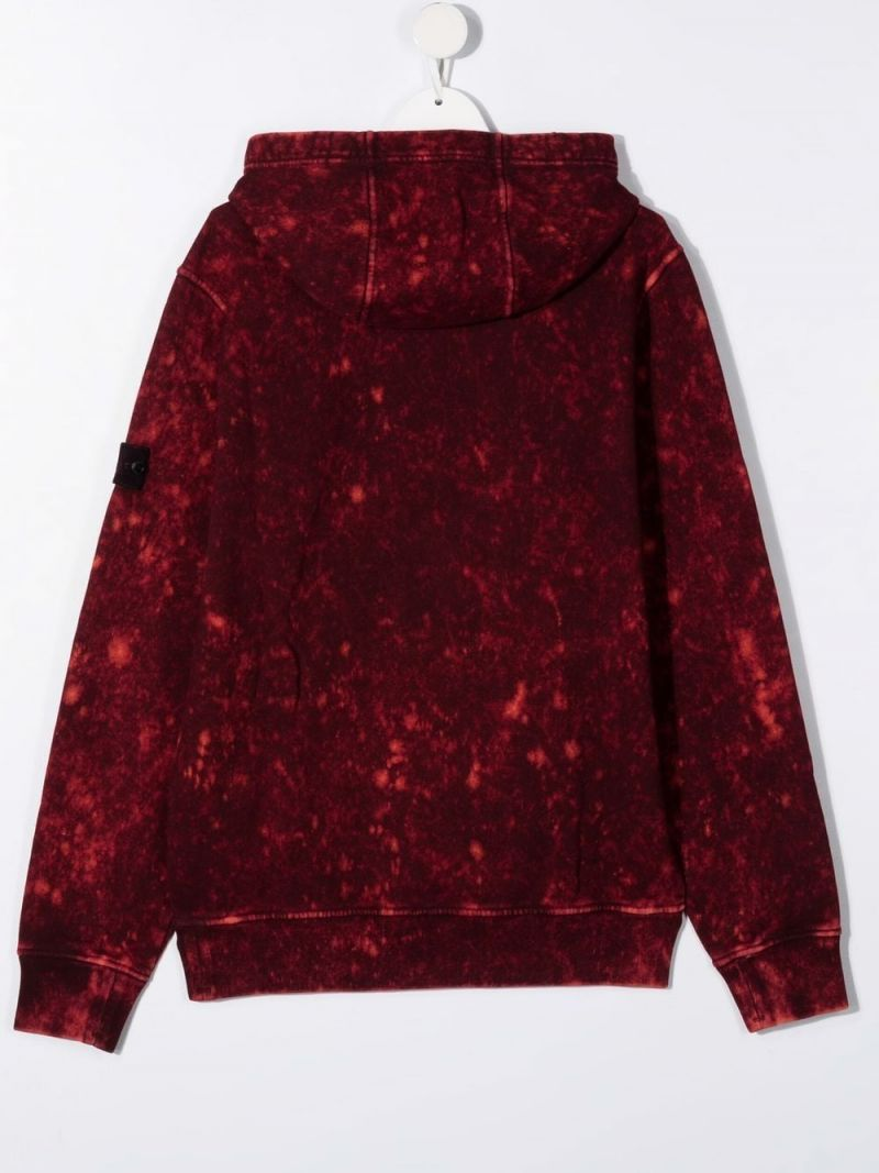 STONE ISLAND JUNIOR: logo badge-detailed distressed-effect cotton hoodie Color Red_2