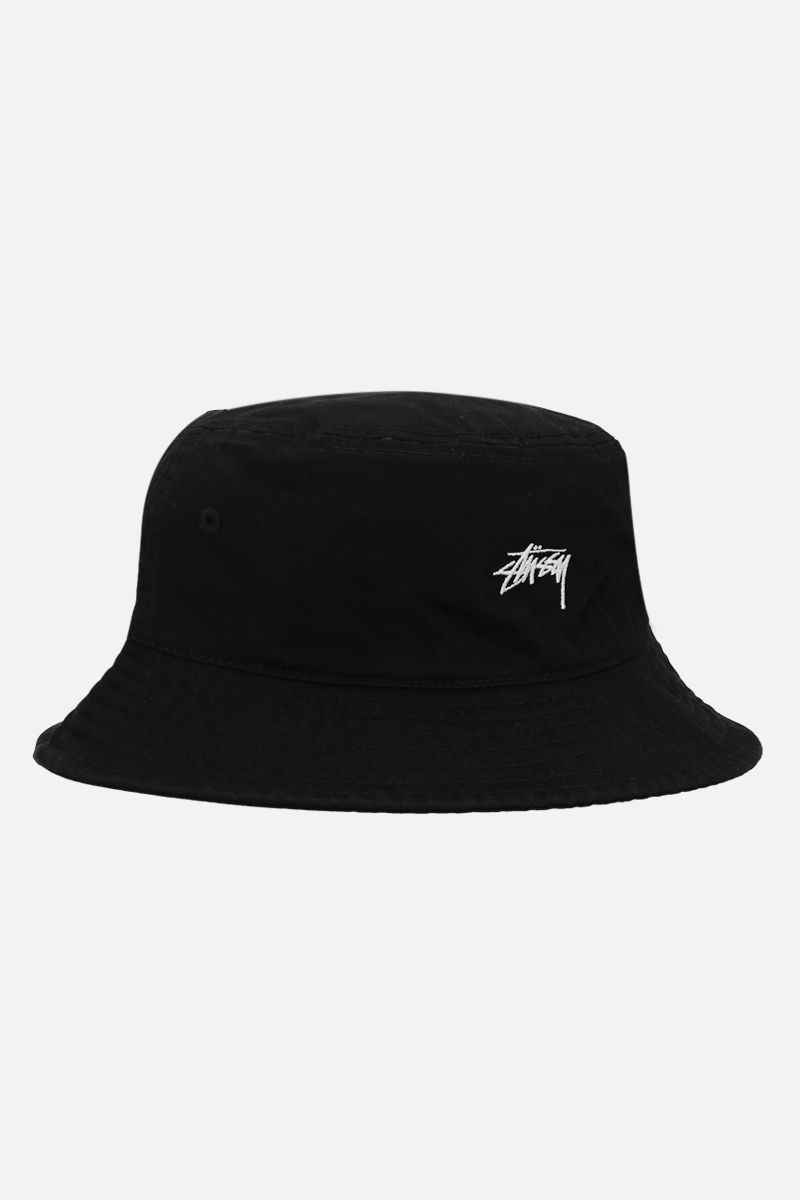 STUSSY: logo embroidery cotton bucket hat Color Black_2