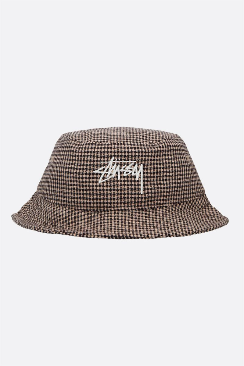 STUSSY: logo embroidery check wool blend bucket hat Color Brown_1