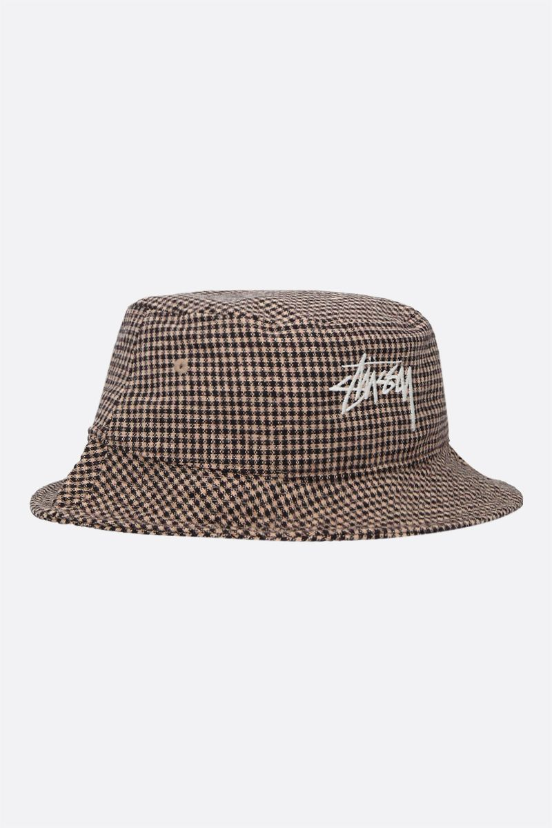 STUSSY: logo embroidery check wool blend bucket hat Color Brown_2