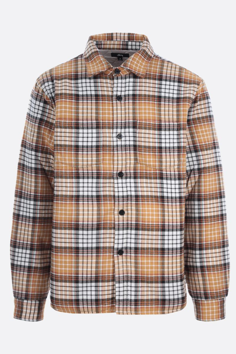 STUSSY: check cotton overshirt Color Gold_1