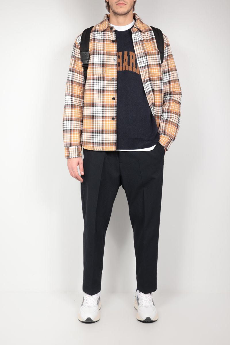 STUSSY: check cotton overshirt Color Gold_2