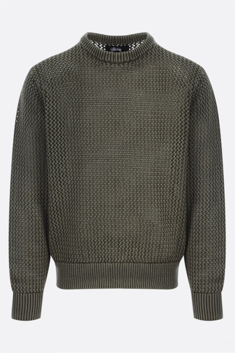 STUSSY: cotton pullover Color Green_1