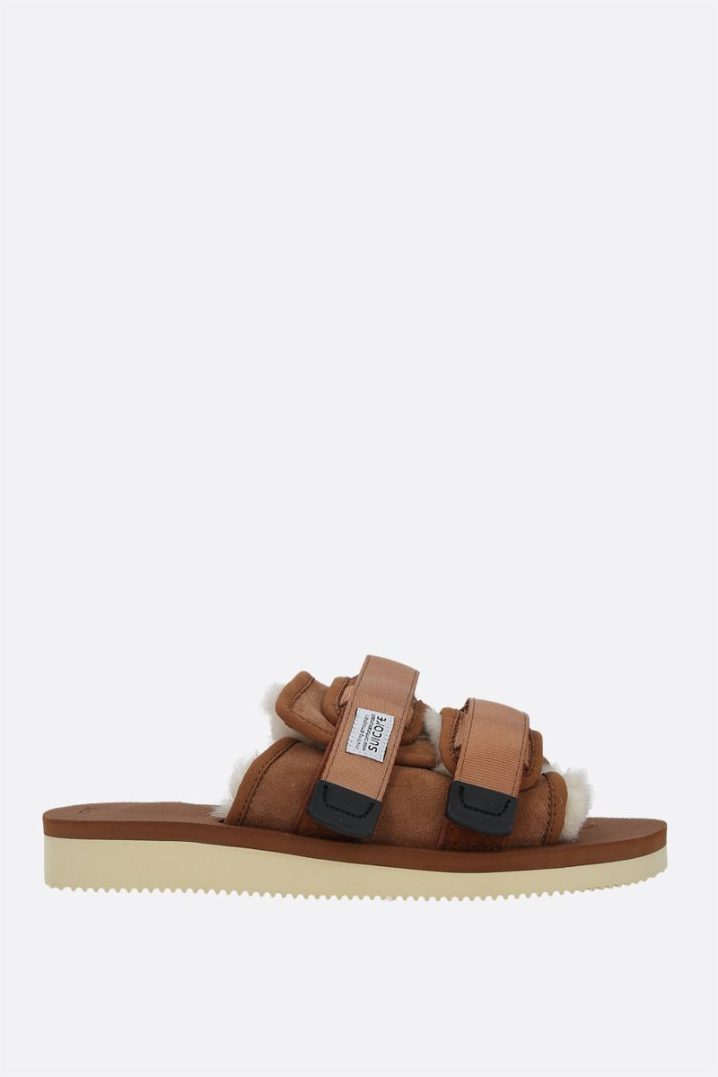 SUICOKE: MOTO-M2ab shearling and nylon slide sandals Color Brown_1