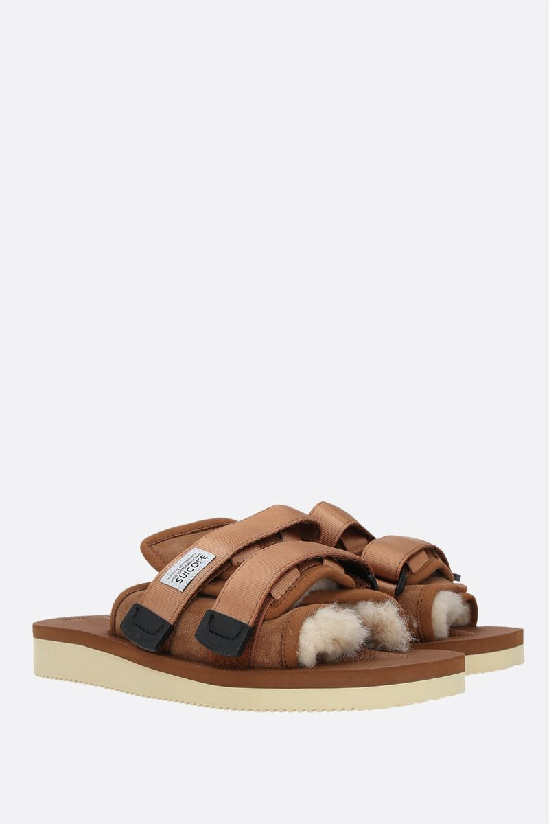 SUICOKE: MOTO-M2ab shearling and nylon slide sandals Color Brown_2