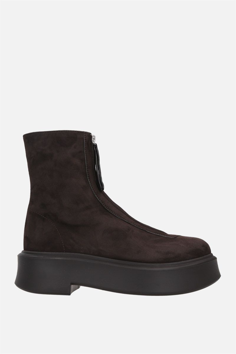 THE ROW: suede zipped boots Color Brown_1