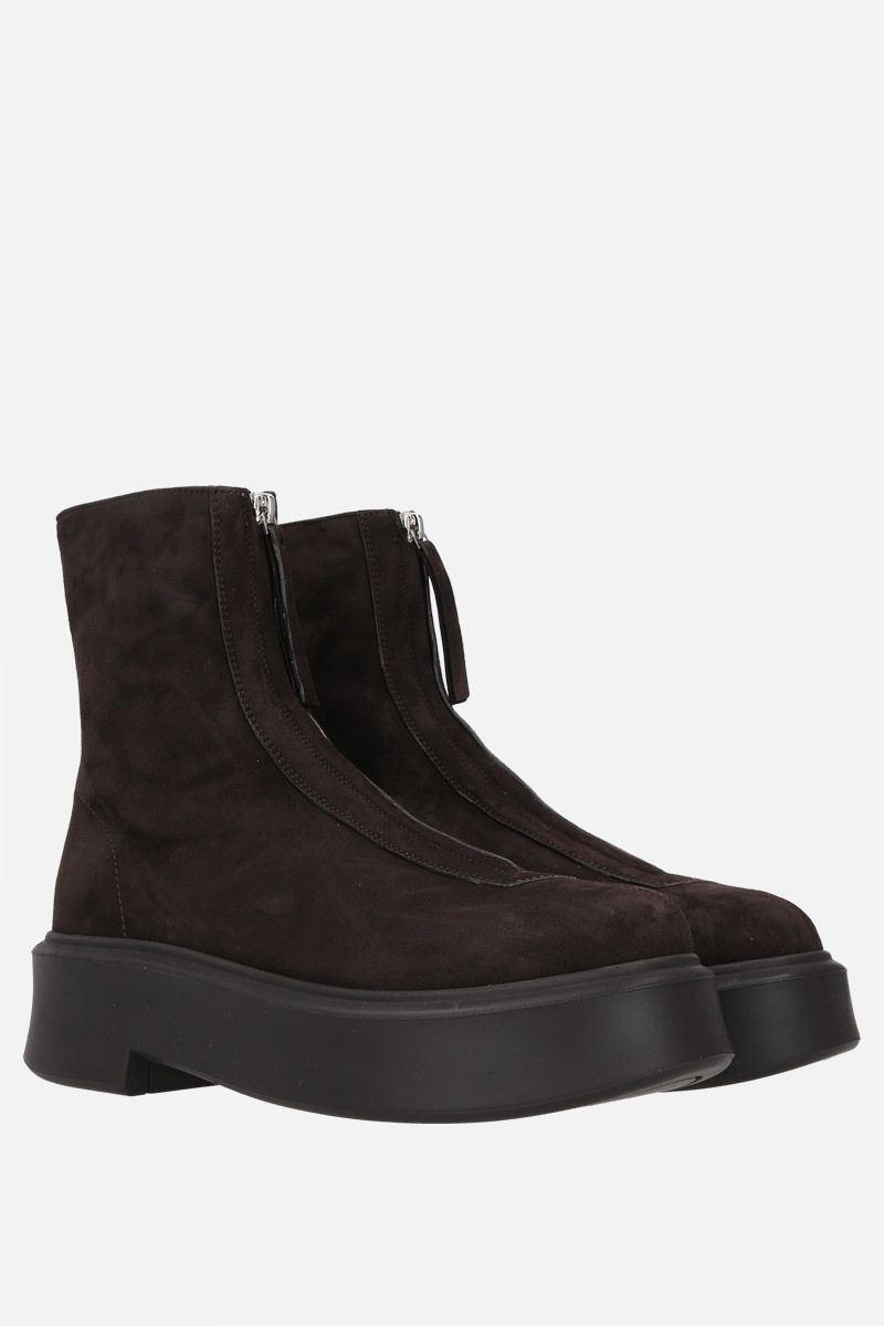 THE ROW: suede zipped boots Color Brown_2
