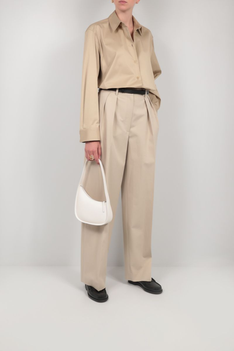 THE ROW: Half Moon smooth leather shoulder bag Color White_2