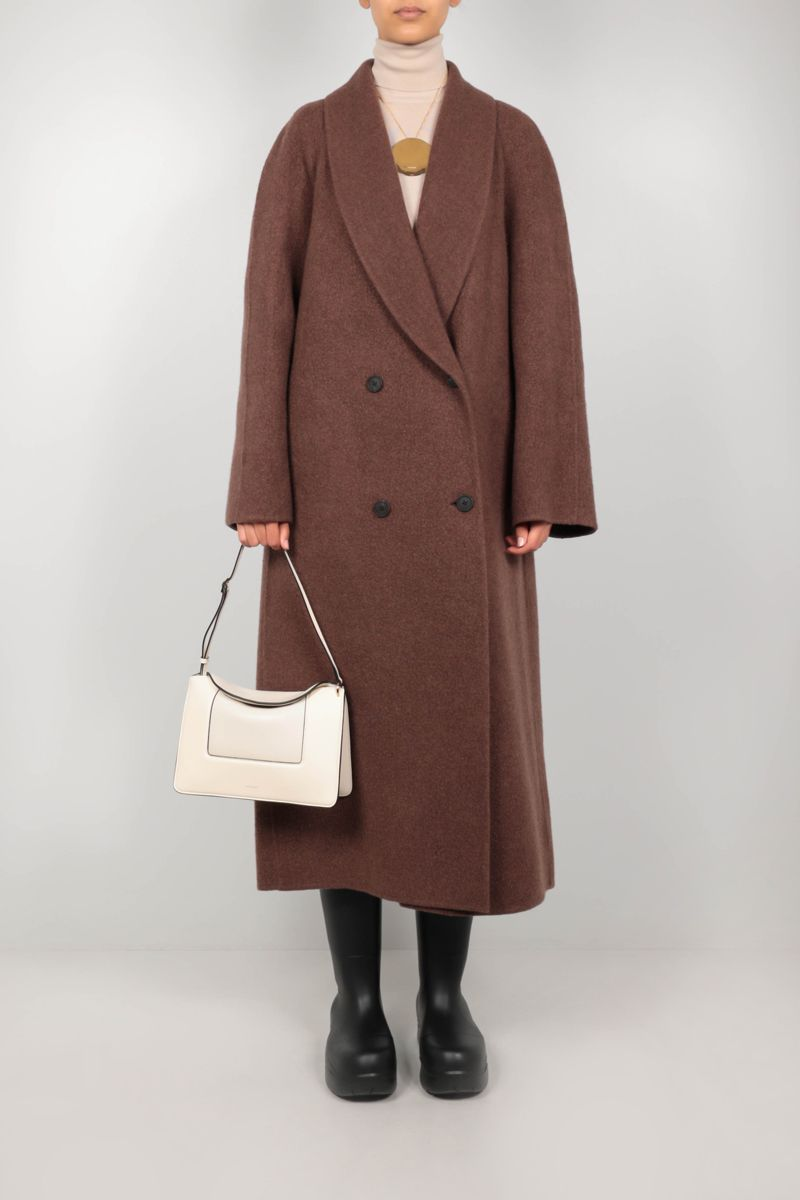 THE ROW: Fleur double-breasted cashmere wool blend coat Color Green_2