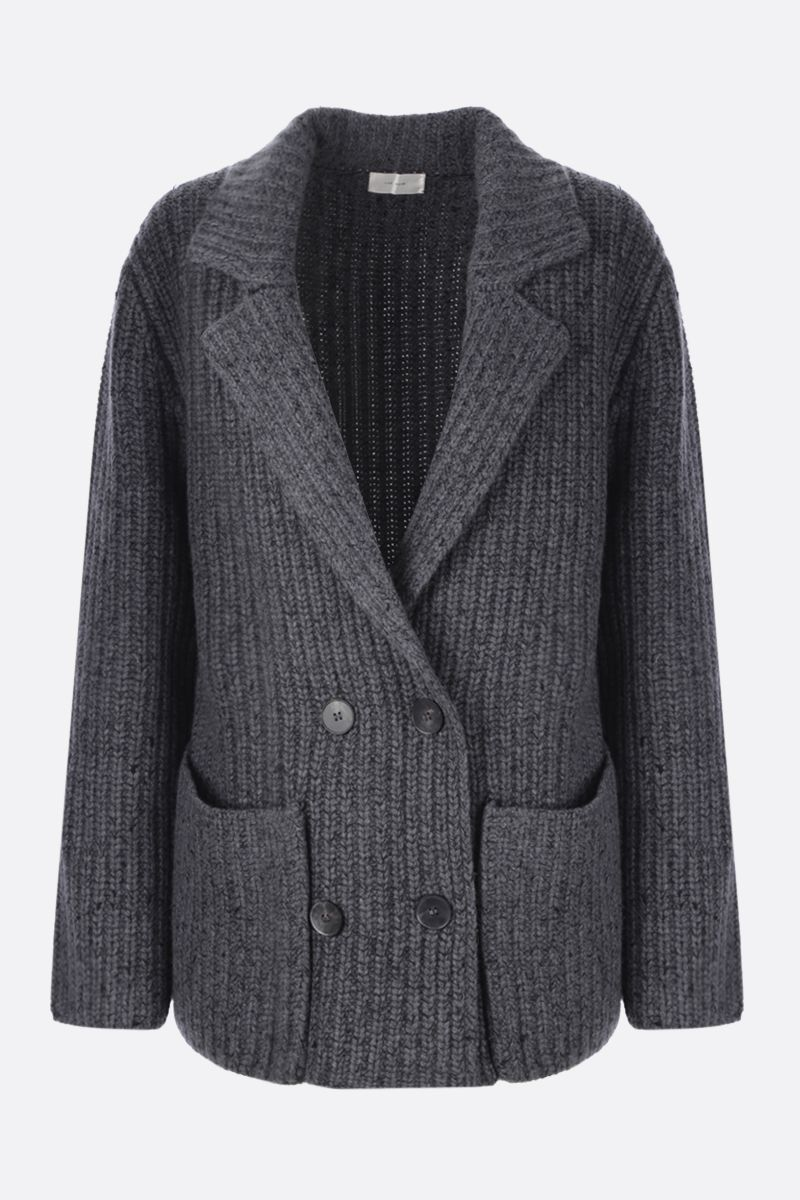 THE ROW: Data double-breasted knit jacket Color Grey_1