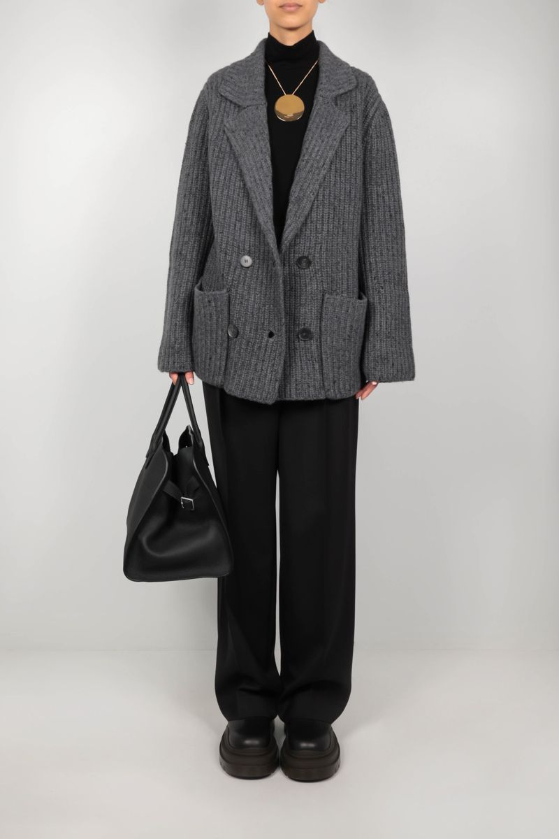 THE ROW: Data double-breasted knit jacket Color Grey_2