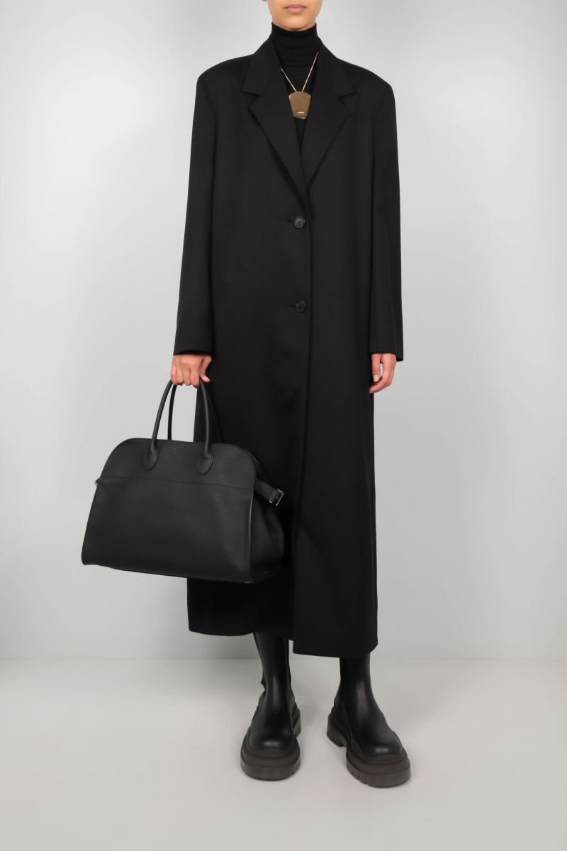 THE ROW: Soft Margaux 15 grainy leather tote bag Color Black_2