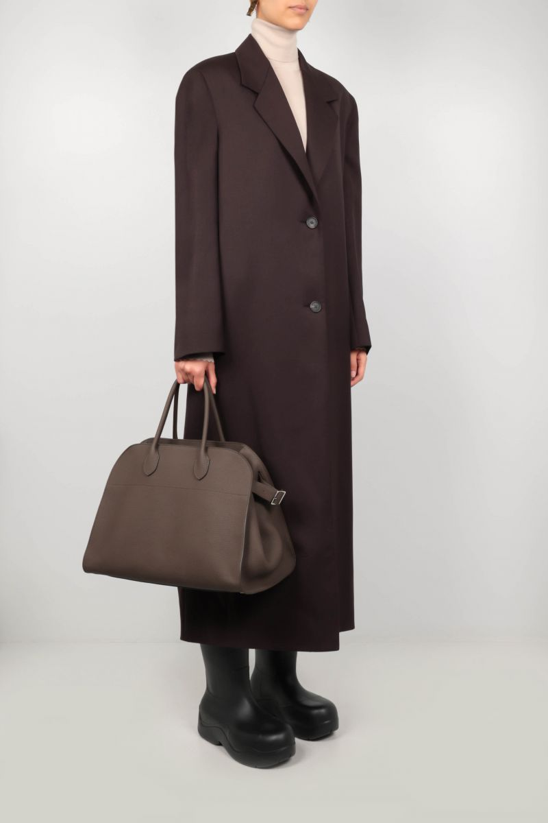 THE ROW: Soft Margaux 15 grainy leather tote bag Color Grey_2