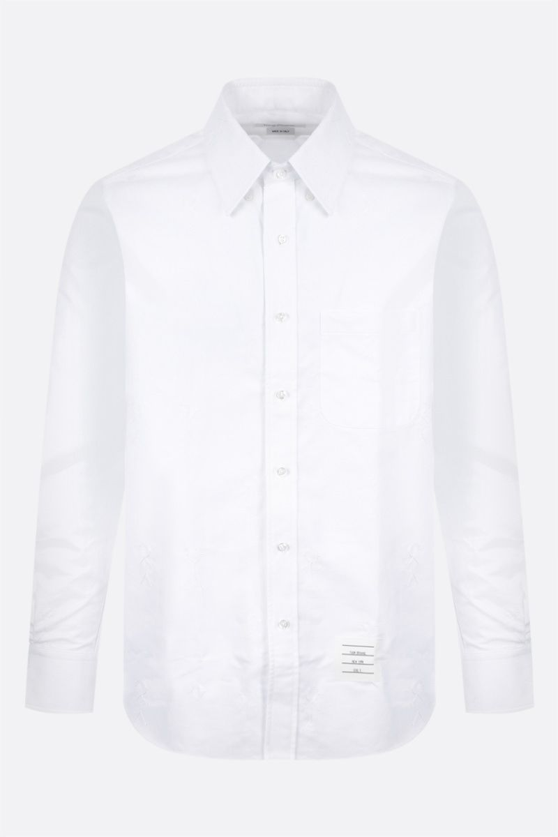 THOM BROWNE: Mr. Thom Icon embroidery cotton blend shirt Color White_1