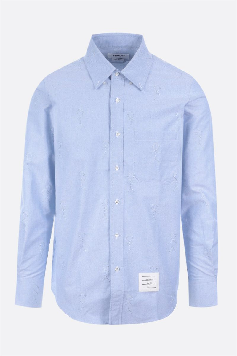 THOM BROWNE: Mr. Thom Icon embroidery cotton blend shirt Color Blue_1