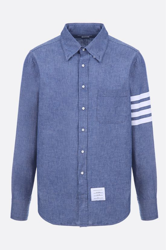 THOM BROWNE: 4-bar detailed cotton chambray shirt Color Blue_1