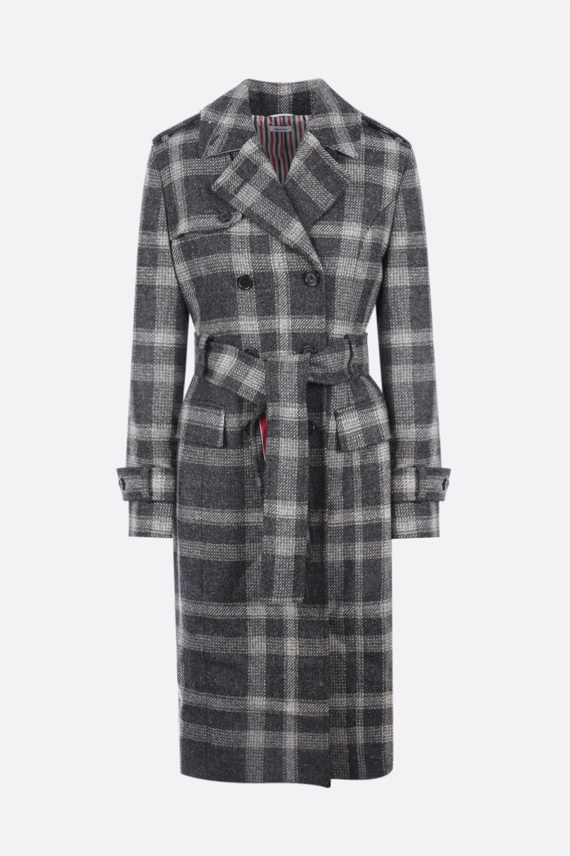 THOM BROWNE: double-breasted check wool trench coat Color Grey_1