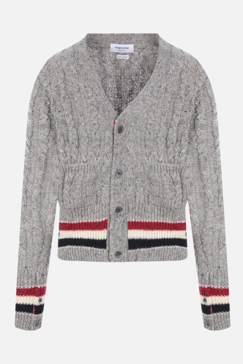 THOM BROWNE: tricolour-detailed mohair wool blend cardigan Color Grey_1