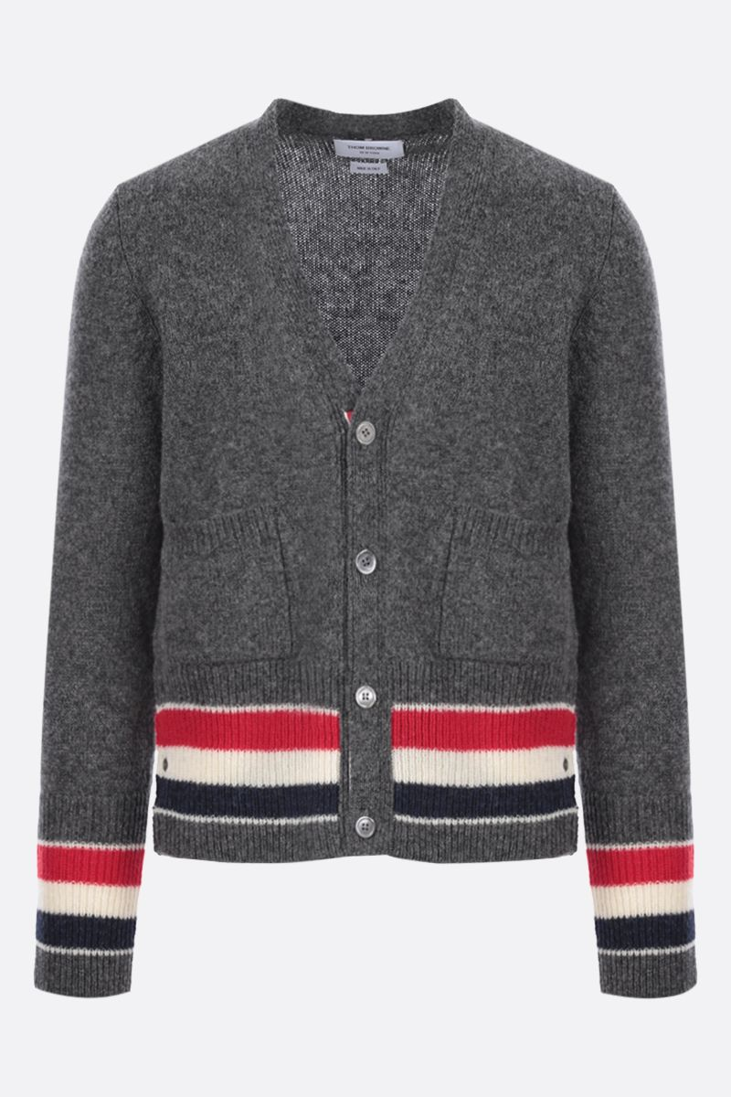 THOM BROWNE: tricolour-detailed wool cardigan Color Grey_1