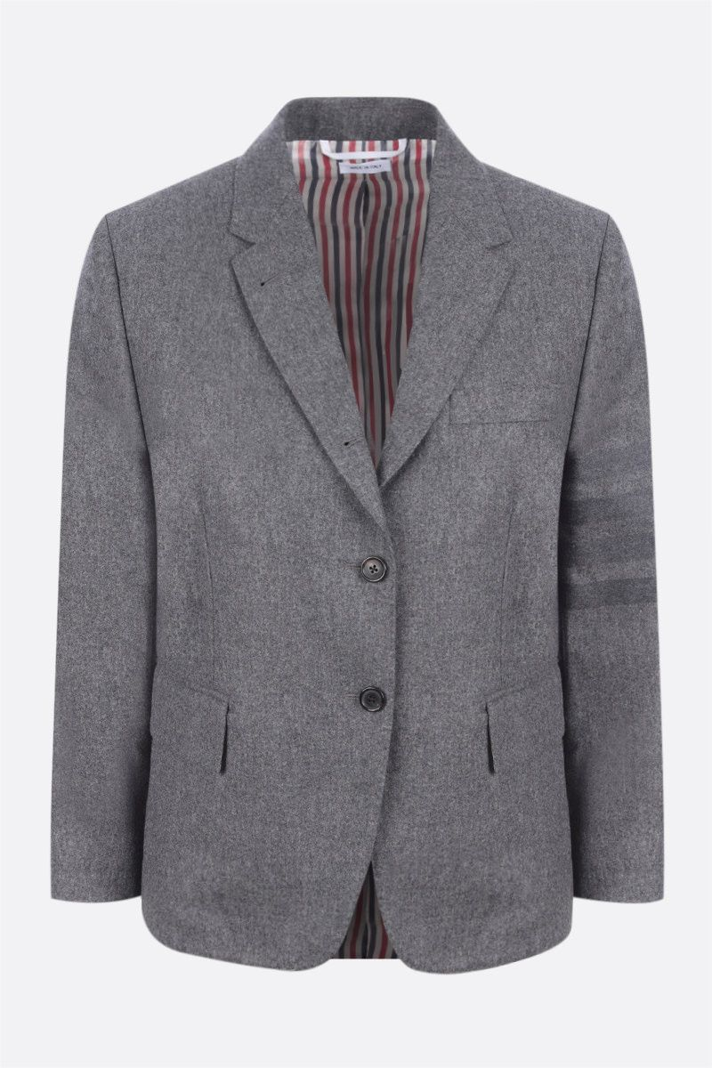 THOM BROWNE: 4-bar-detailed single-breasted flannel jacket Color Grey_1