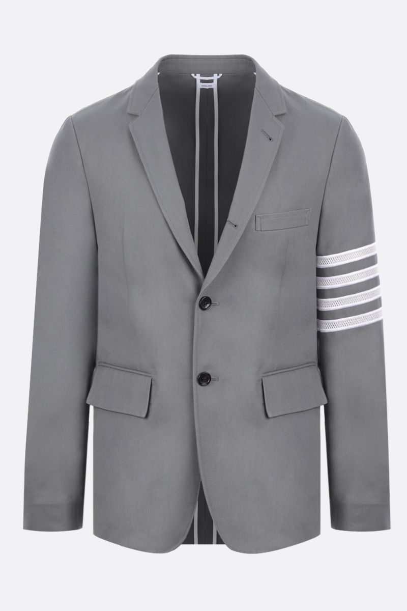THOM BROWNE: 4-bar-detailed single-breasted canvas jacket Color Grey_1