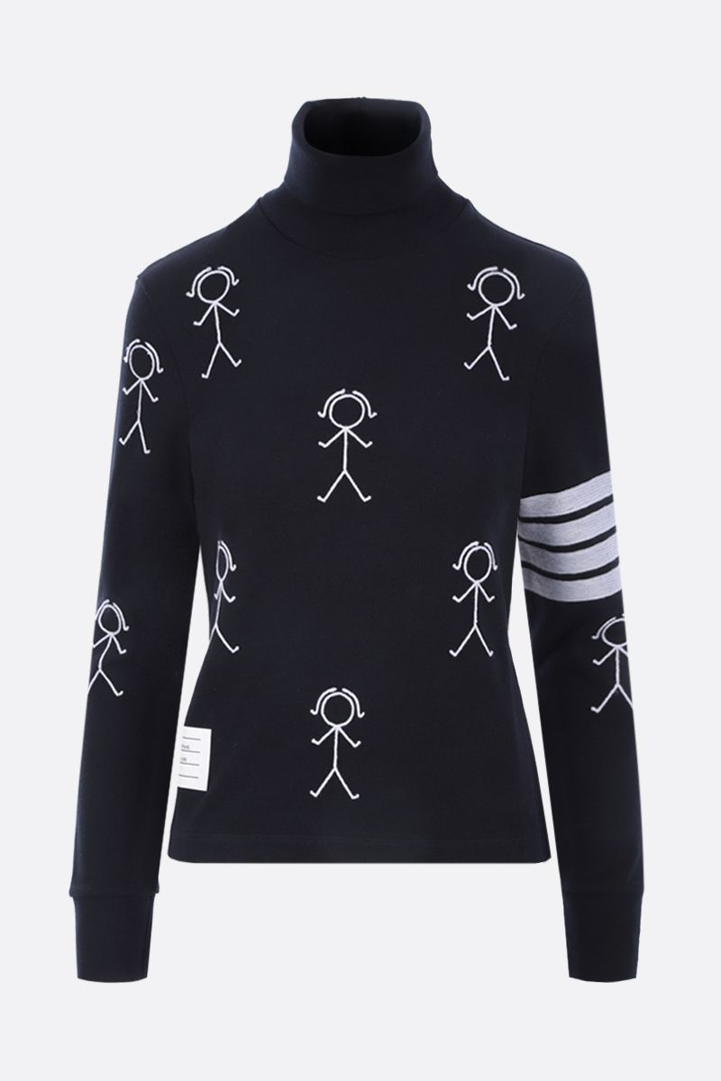 THOM BROWNE: Mrs. Thom Icon embroidered cotton turtleneck Color Blue_1