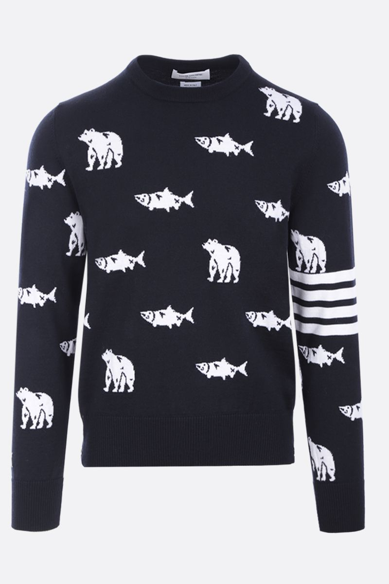 THOM BROWNE: pullover Bear and Salmon in lana merino Colore Blue_1
