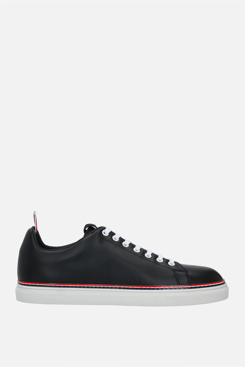 THOM BROWNE: smooth leather low-top sneakers Color Black_1