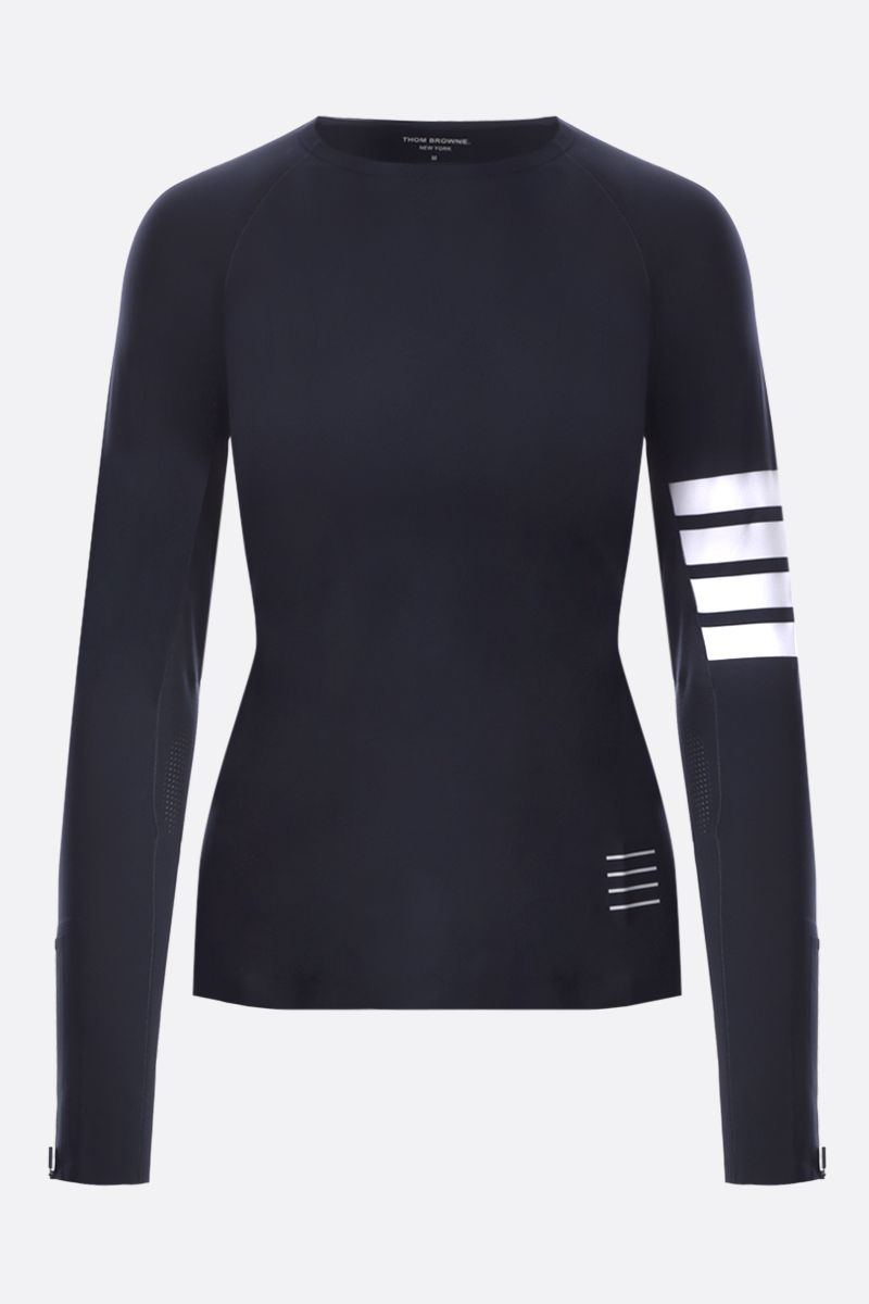 THOM BROWNE: long-sleeved technical fabric t-shirt Color Blue_1