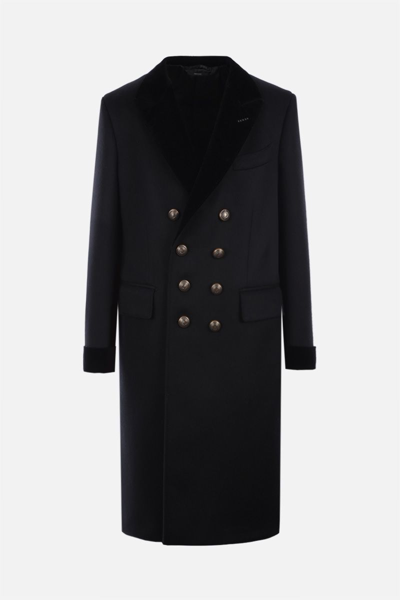 TOM FORD: double-breasted cashmere wool blend coat Color Black_1