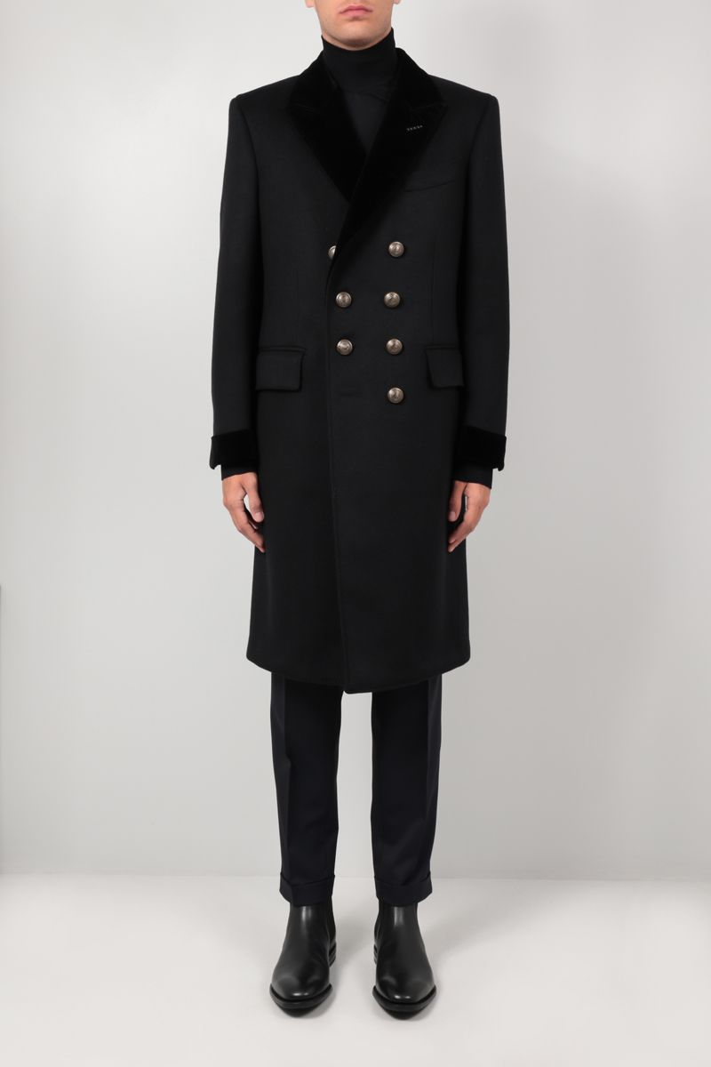 TOM FORD: double-breasted cashmere wool blend coat Color Black_2