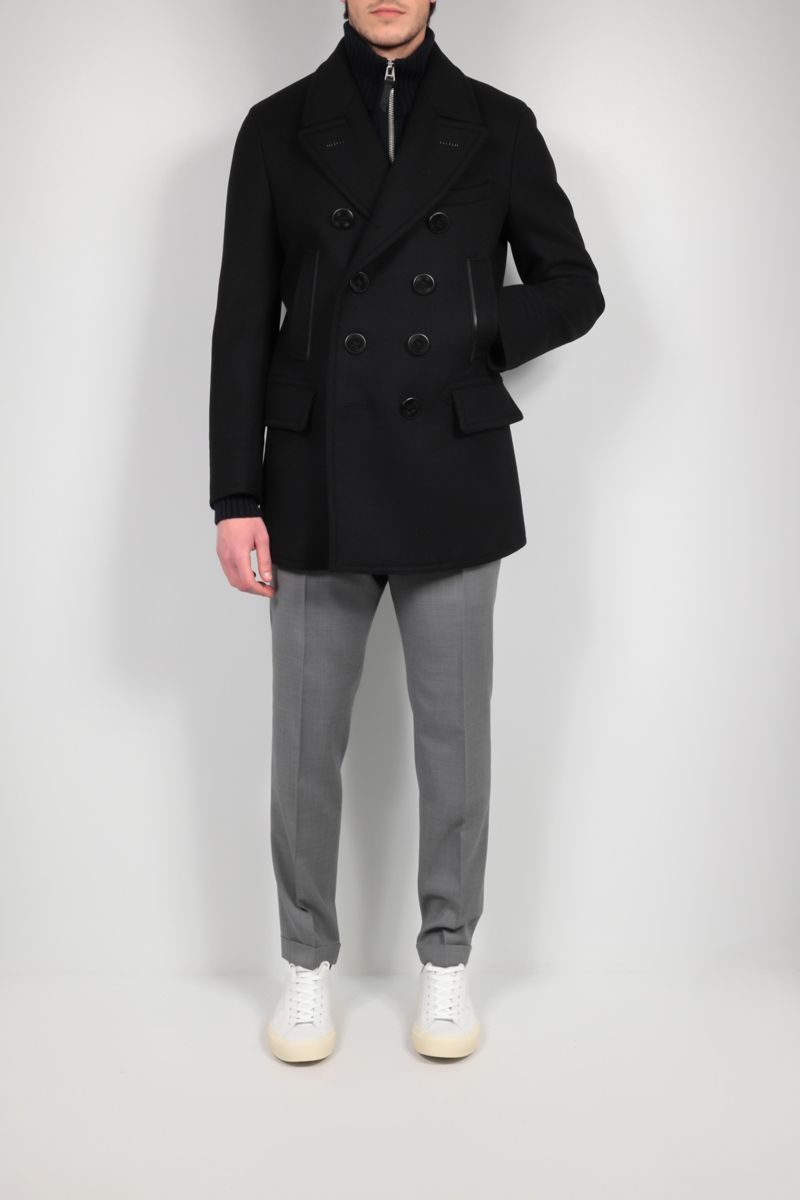 TOM FORD: cashmere wool blend double-breasted coat Color Black_2