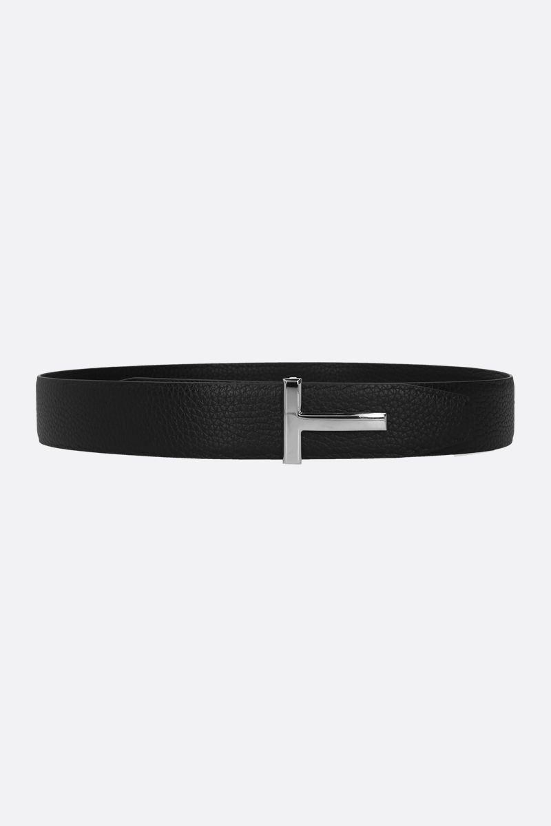 TOM FORD: T Icon grainy leather reversible belt Color Blue_1