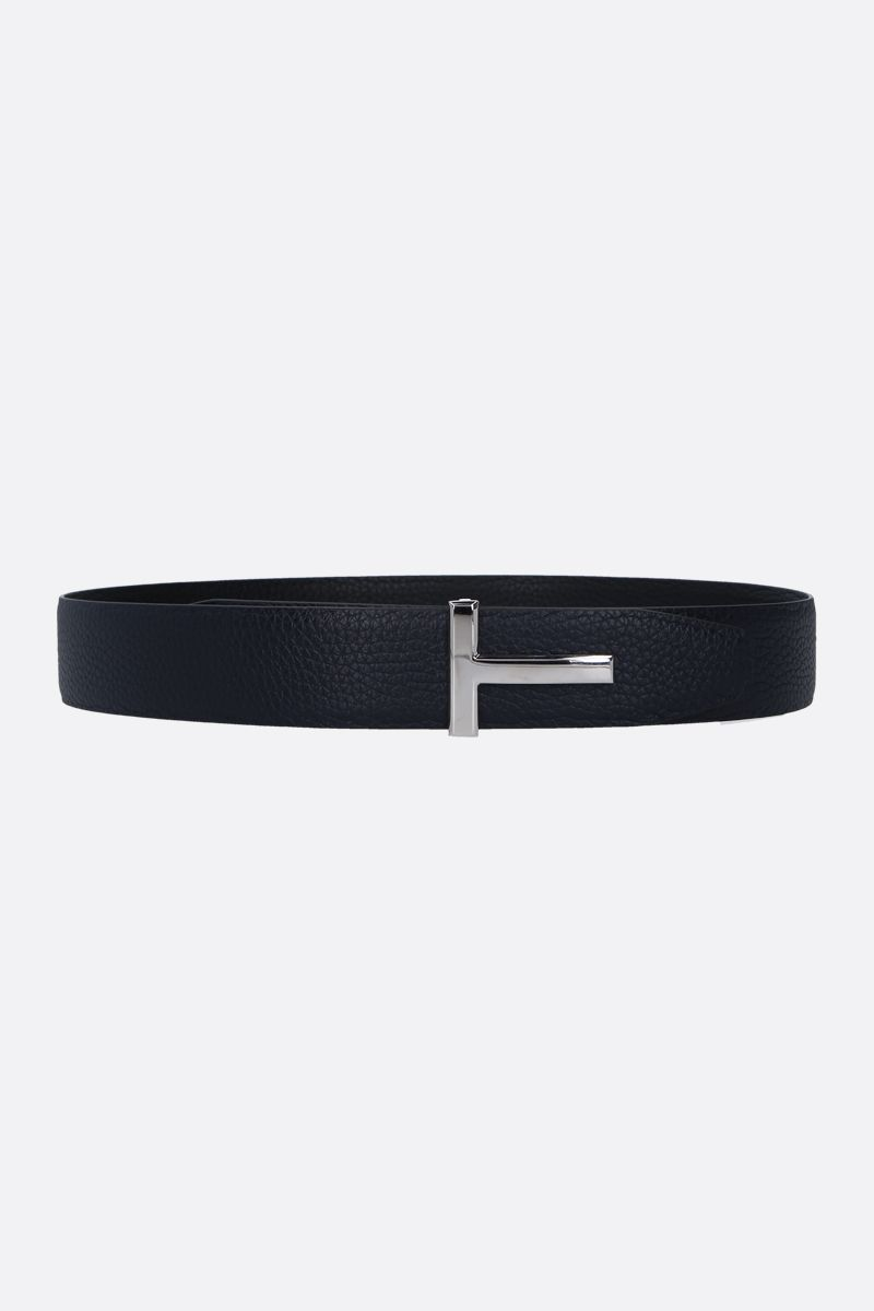 TOM FORD: T Icon grainy leather reversible belt Color Blue_2