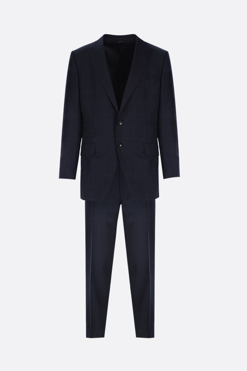 TOM FORD: check wool two-piece suit Color Blue_1