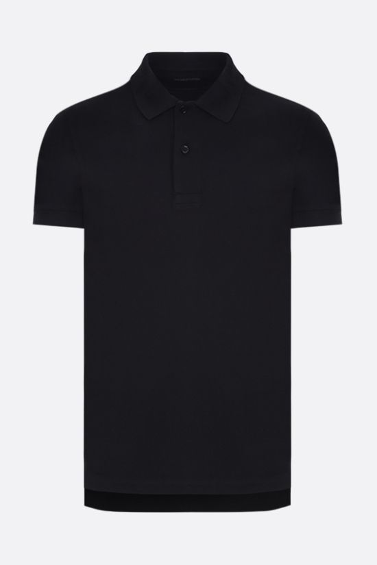 TOM FORD: TF embroidered cotton polo shirt Color Black_1
