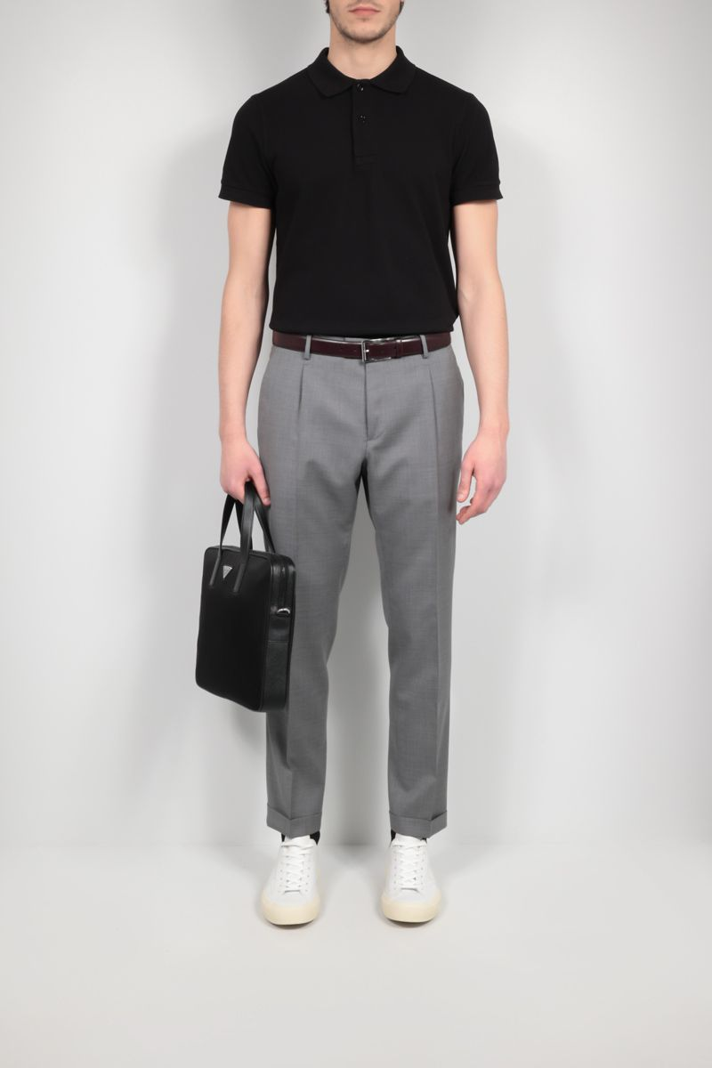 TOM FORD: TF embroidered cotton polo shirt Color Black_2