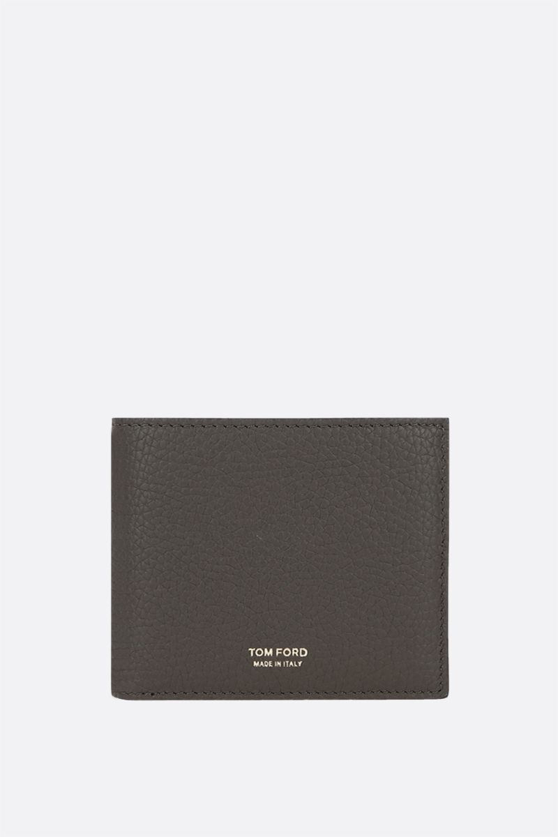 TOM FORD: grainy leather billfold wallet Color Green_1