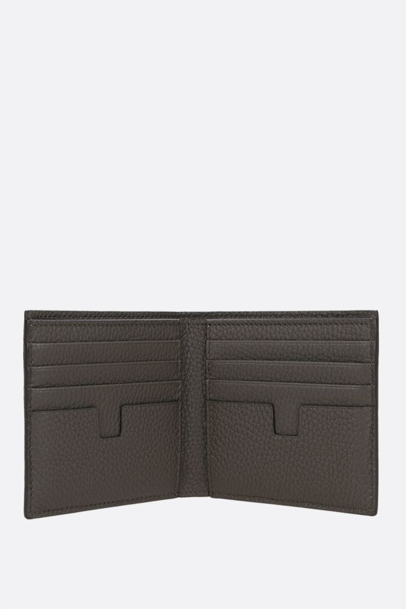 TOM FORD: grainy leather billfold wallet Color Green_2