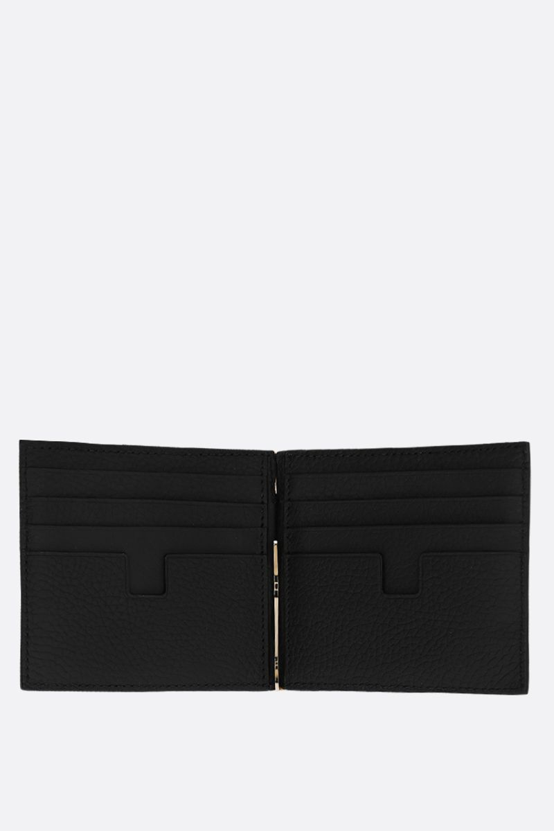 TOM FORD: grainy leather money-clip wallet Color Black_2