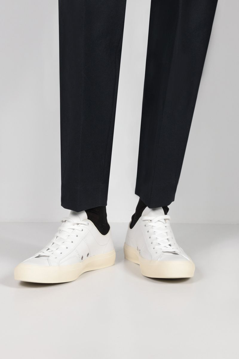 TOM FORD: Cambridge smooth leather sneakers Color White_2