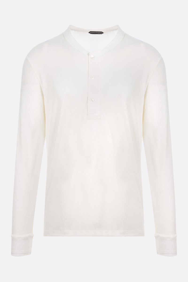TOM FORD: Henley ribbed knit long-sleeved t-shirt Color White_1