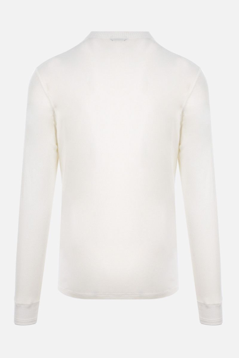 TOM FORD: Henley ribbed knit long-sleeved t-shirt Color White_2