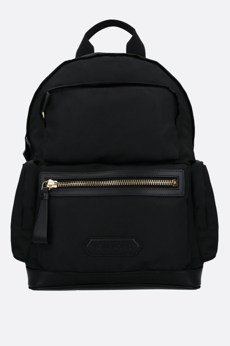 TOM FORD: logo patch nylon and smooth leather backpack Color Black_1