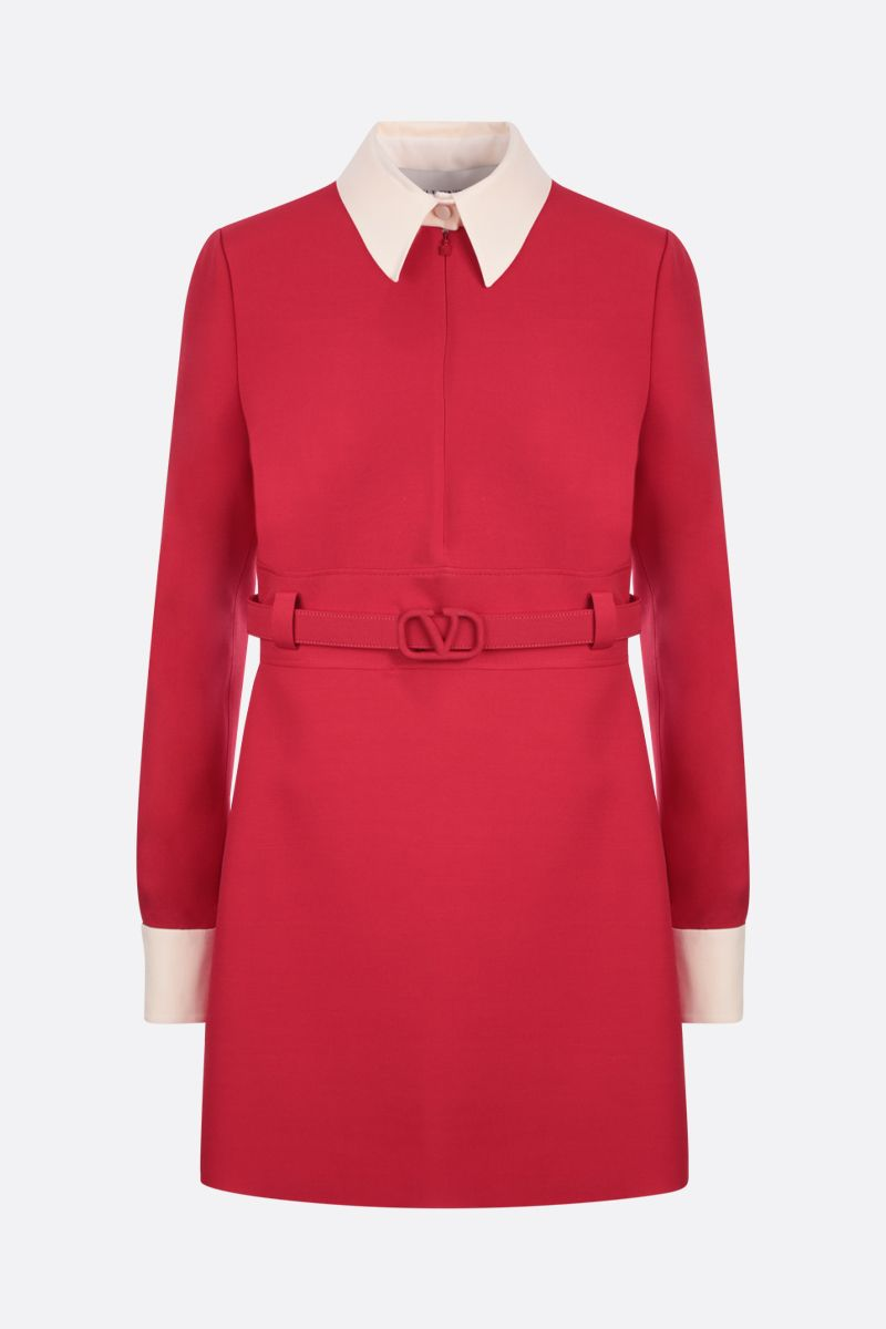 VALENTINO: Crepe Couture belt-detailed minidress Color Red_1