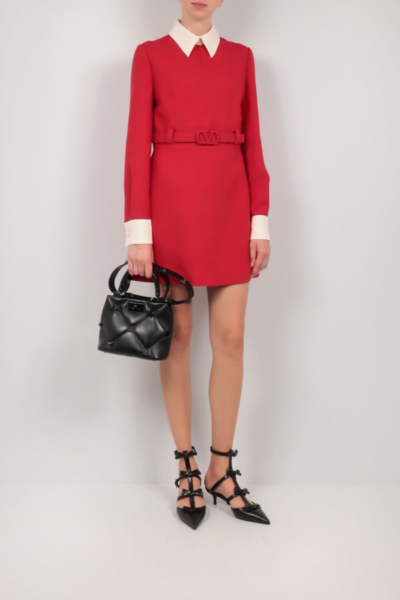 VALENTINO: Crepe Couture belt-detailed minidress Color Red_2