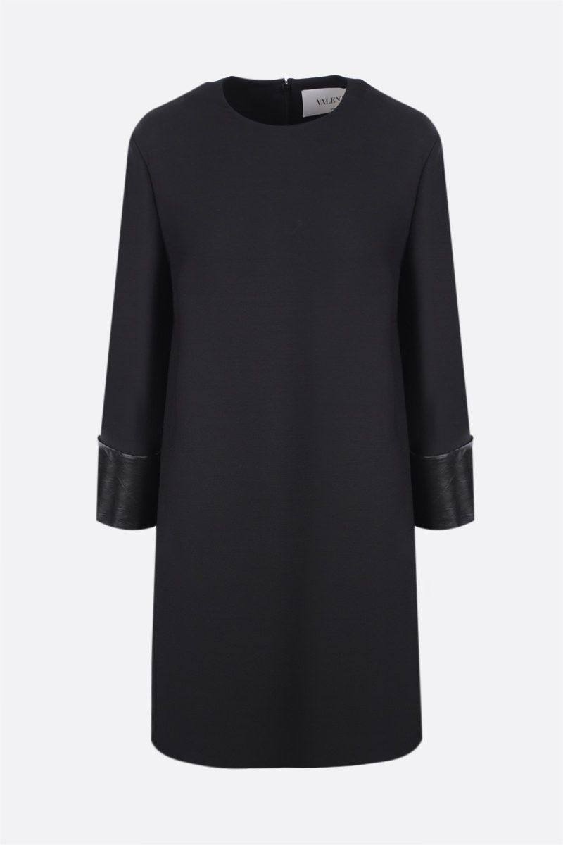 VALENTINO: leather-detailed Crepe Couture short dress Color Black_1