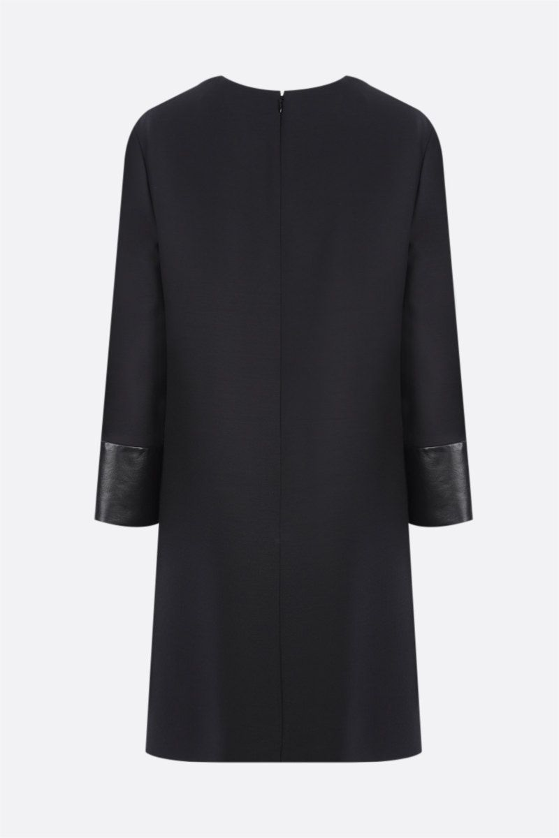 VALENTINO: leather-detailed Crepe Couture short dress Color Black_2