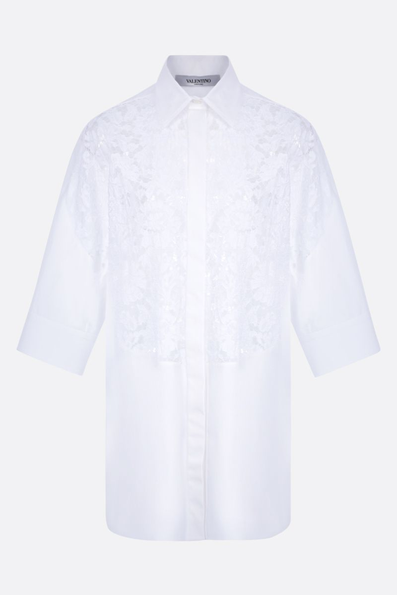 VALENTINO: oversize floral lace and poplin shirt Color White_1